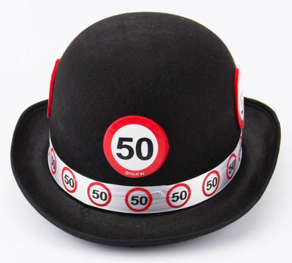 Traffic Sign 50th Party Black Bowler Hat Birthday Novelty Gift Favor Favour